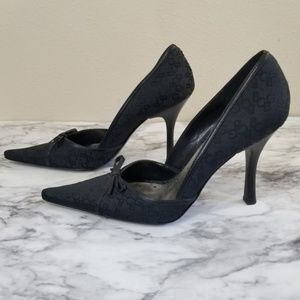 Bcbgirls black pointy toe heels with bows